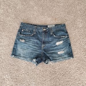 AG The Sadie High Rise Distressed Shorts 30R